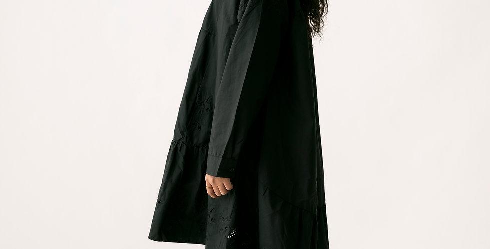 Midi Shirt Dress in Black