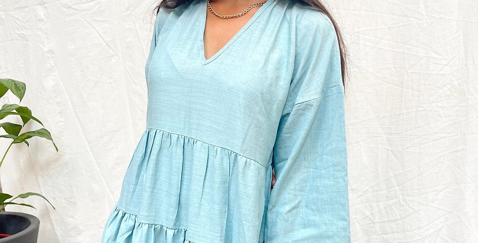 Dusty Blue Gathering Dress