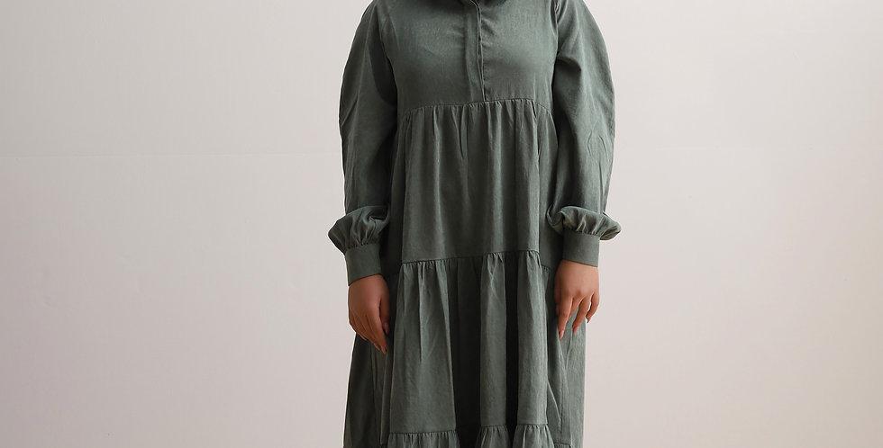Gathering Dress in Olive