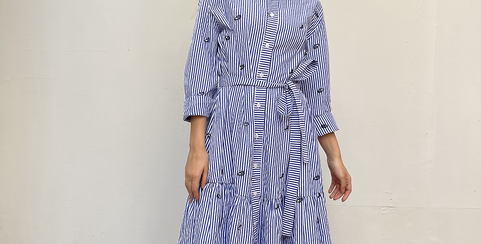 Embroidered Striped dress with eye pattern