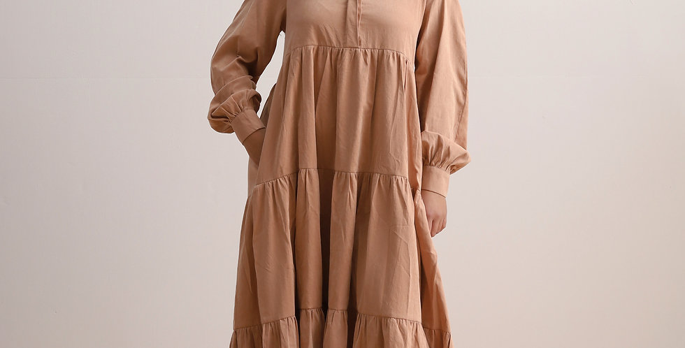 Gathering Dress in Camel