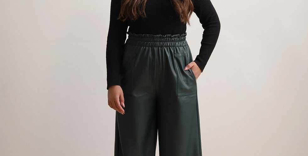 Wide Leather Pants in Olive