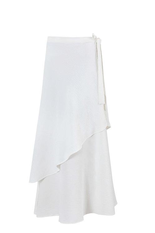White Asymmetric Skirt