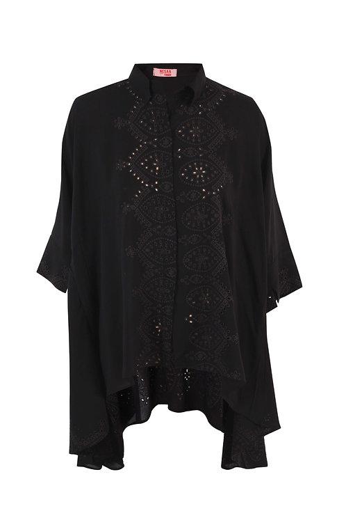Black Embroidered Oversized Shirt
