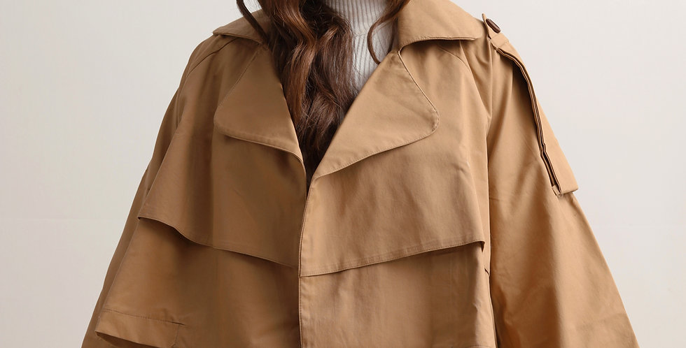 Short Trench Jacket in Camel