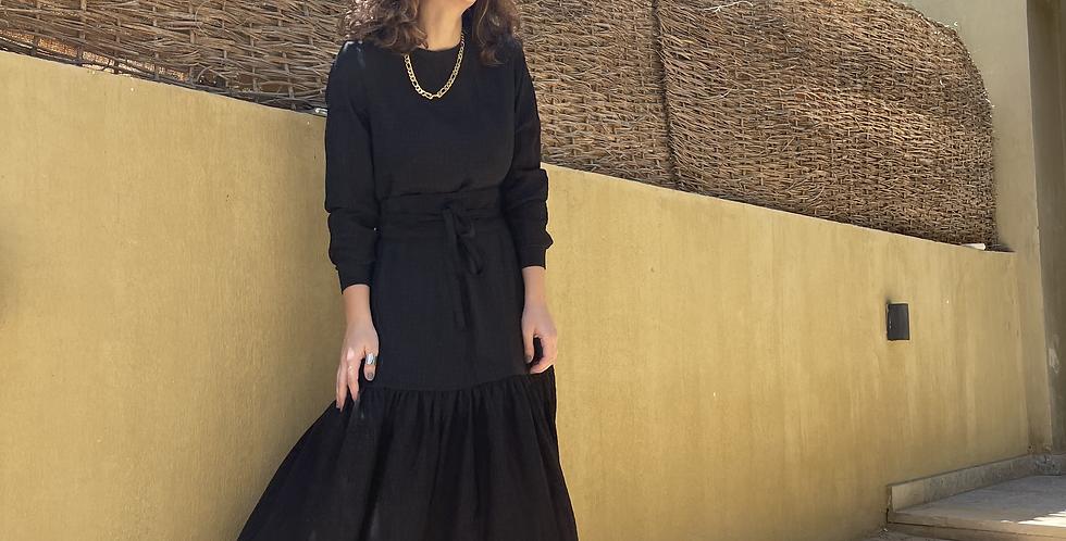 Black Crushed Flowy Dress