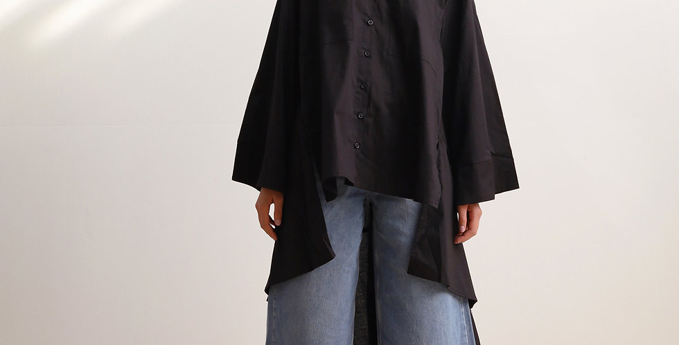 Black Oversized Pocket Shirt