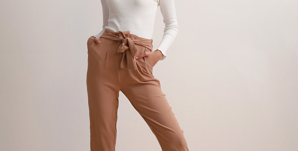 Beige Trousers with Belt