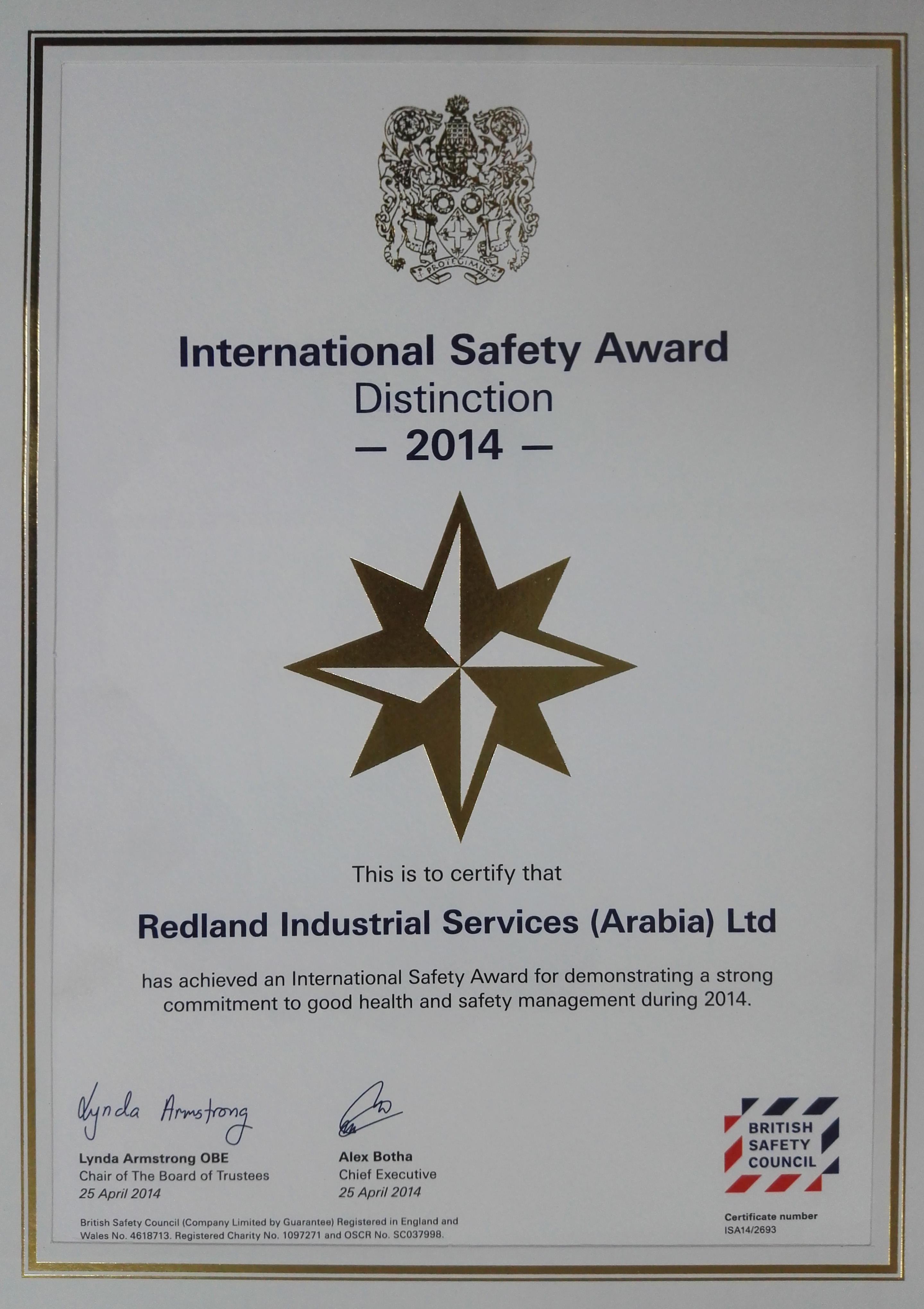 16 Safety Award2014