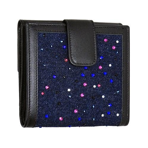 Brieftasche Maxi Jeans blau mit SWAROVSKI Crystals