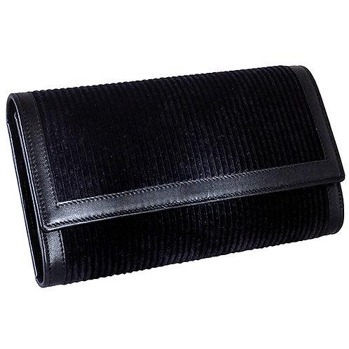 Brieftasche Deluxe Cord Stoff uni schwarz