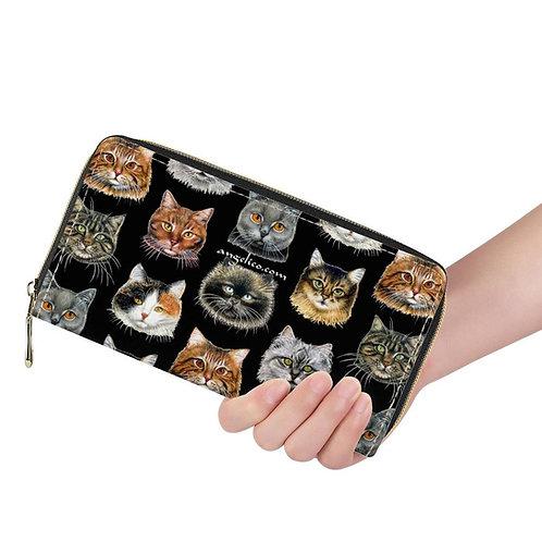 Lange Brieftasche ZIP Katzen schwarz