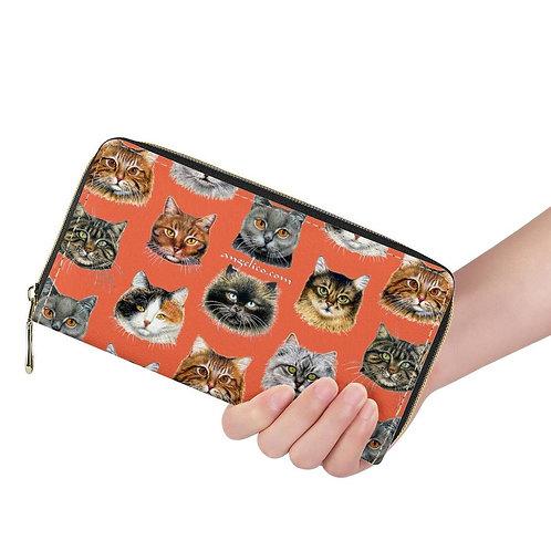 Lange Brieftasche ZIP Katzen orange