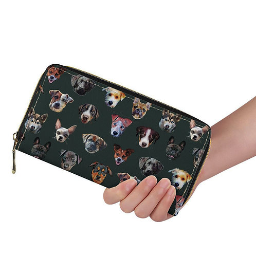 Lange Brieftasche ZIP Hunde dunkelgrün