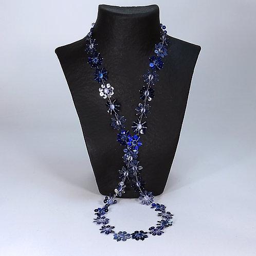 Collier Guipure blau-silber