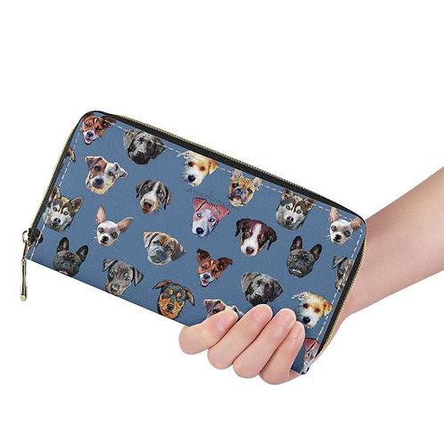 Lange Brieftasche ZIP Hunde blau