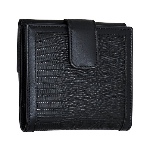 Brieftasche Maxi Eidechsenimitat schwarz