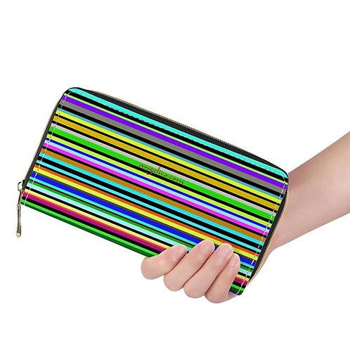 Lange Brieftasche ZIP Streifen pastell