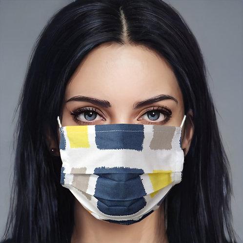 Gesichtsmaske Karo grau-gelb-apricot | limited edition