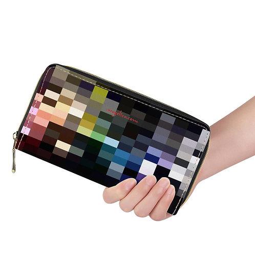 Lange Brieftasche ZIP Pixels dunkel