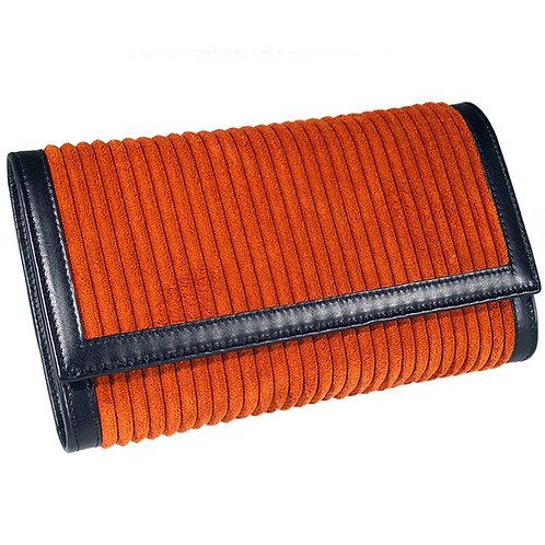 Brieftasche Deluxe Cordstoff terracotta