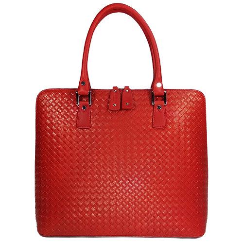 Businesstasche rot mit Karo-Prägung