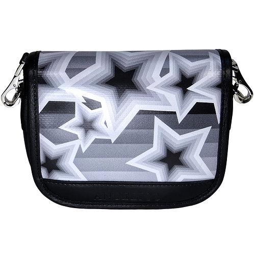 Schultertasche Mini Sterne schwarz|weiss