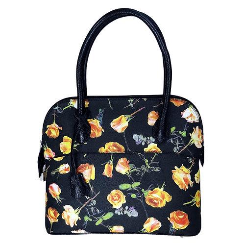 Halbmondtasche Rosen schwarz