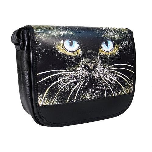 Schultertasche Medium Katzenkopf schwarz