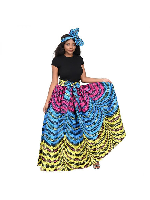 Multi-Colored Tiered Maxi Skirt