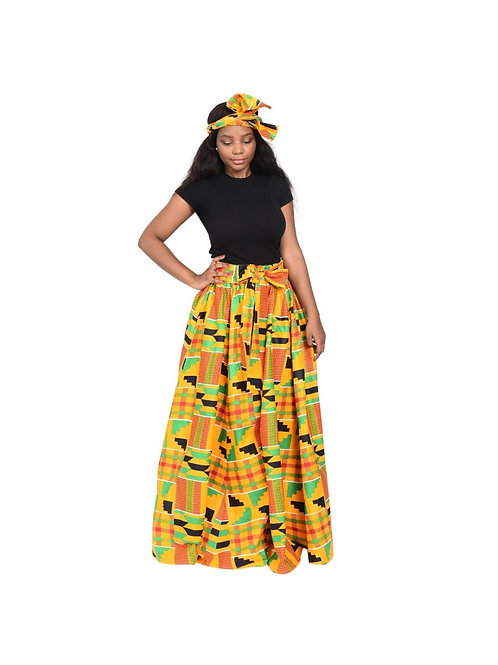 Kente Cloth Maxi Skirt