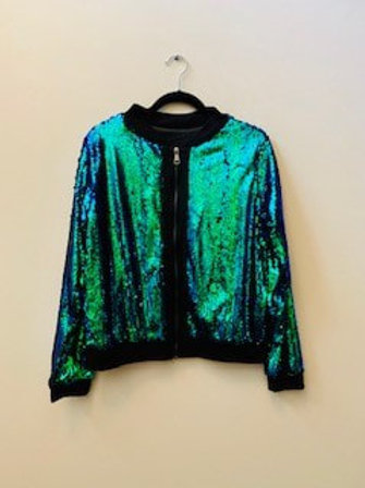 Blue Sequin Crop Jacket