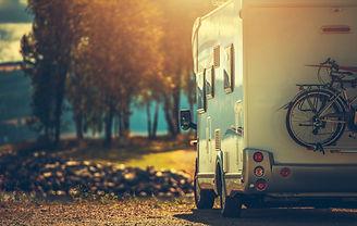 Autumn RV Camping. Modern Camper Van Dur