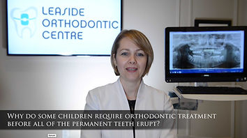 Why do some children require orthodontic treatment before all of the permanent teeth erupt? This is why we recommend early treatment for certain orthodontic problems: -Guiding erupting adult teeth into more favourable positions -Preserving or gaining arch space for incoming adult teeth -Reducing risk of fracture of protruded upper teeth -Eliminating jaw shift that may result in asymmetric jaw growth Early treatment generally reduces the complexity of comprehensive treatment in teenage years.