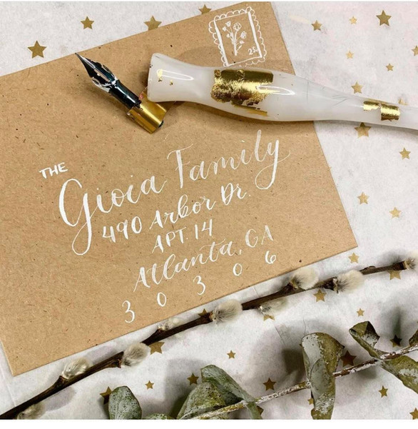 Dip Pen and Ink Envelope Calligraphy