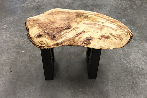 Specialty Burl Table With Metal Base
