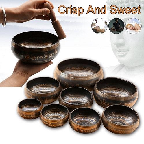 Tibetan Sing Bowl Handmade Music Brass Buddha Sound Bowl 7 Sizes