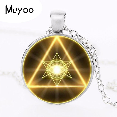 Gold Sacred Geometry Cabochon Glass Tibet Round Chain Pendant Necklace HZ1