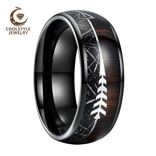 Black Men Tungsten Ring Wedding Band With Arrow Wood Black Meteorite Inlay
