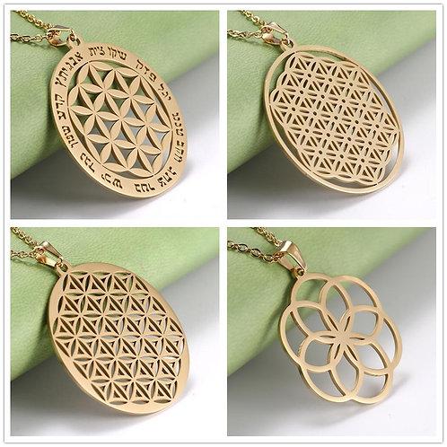 Flower of Life Mandala Necklace Sacred Geometry Stainless Steel