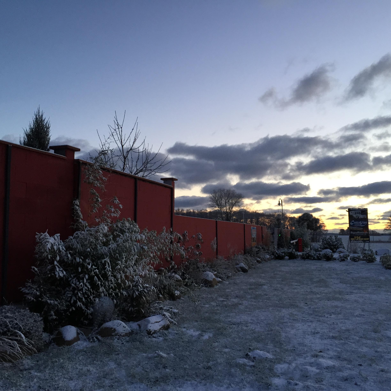 Winterbild Stellplatz Bergen