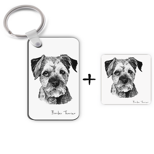 Border Terrier - Keyring & Magnet Gift Set