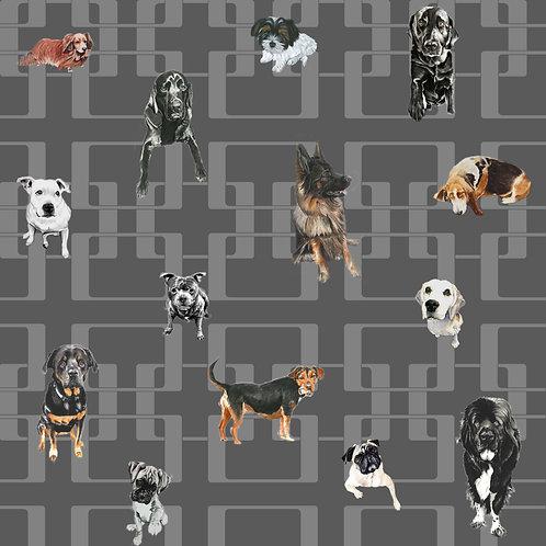 Doggy Mixtures - Premium Wallpaper - Black n Grey