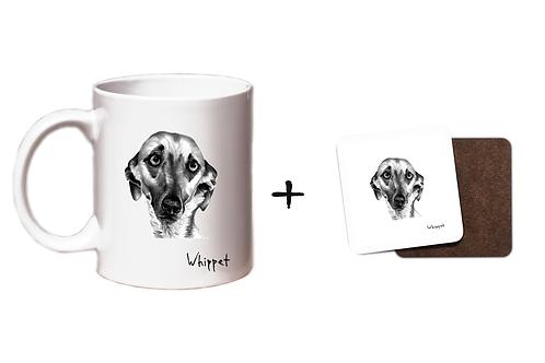 Whippet - Mug & Coaster Gift Set