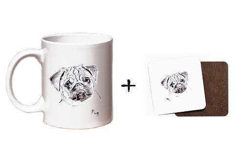 Pug - Mug & Coaster Gift Set