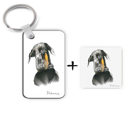 Doberman - Keyring & Magnet Gift Set