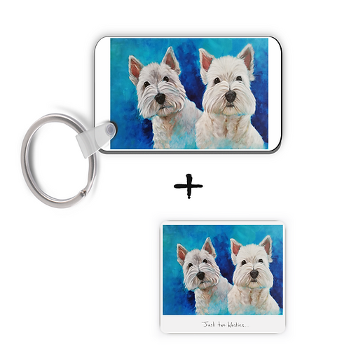 Just Two Westies - Keyring & Magnet Gift Set