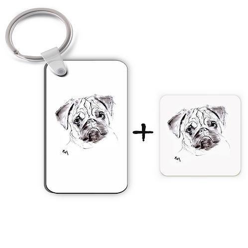 Pug - Keyring & Magnet Gift Set