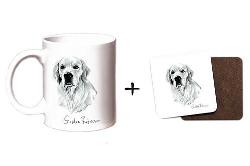 Golden Retriever - Mug & Coaster Gift Set
