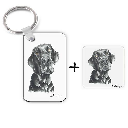 Black Labrador - Keyring & Magnet Gift Set